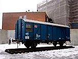 "Yoko Onos Installation ""Freight Train"" im Hof des P.S.1 Contemporary Art Center in New York, photographiert im Februar 2003"